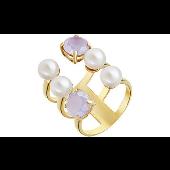 Кольцо широкое с жемчужинами и сиреневыми фианитами, серебро с золотым покрытием
