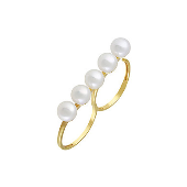 Кольцо на два пальца с жемчужинами, серебро с золотым покрытием