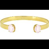 Браслет обруч жесткий с розовыми (опаловыми) алпанитами, серебро с золотым покрытием