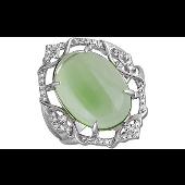 Кольцо с мятным алпанитом и фианитами, серебро