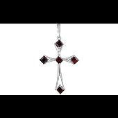 Крестик с гранатами, серебро