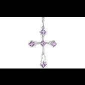 Крестик с аметистами, серебро