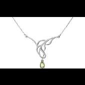 Колье Перо с хризолитом и фианитами, серебро