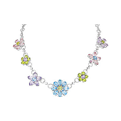 Колье Весенние цветы с аметистом, топазом, хризолитом и алпанитом из серебра