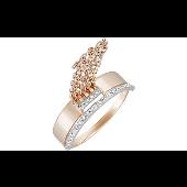 Кольцо с цепочками и фианитами, красное золото