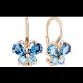 Серьги Бабочки с синими фианитами, красное золото