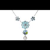 Колье Конфетти цветы с алпанитами, топазами и жемчужиной, серебро