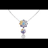 Колье Конфетти цветы с аметистами, цитринами, топазами и жемчужиной, серебро
