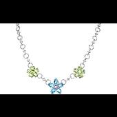Кольце Цветы с топазами, хризолитами, аметистом и фианитами, серебро