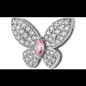 Подвеска Бабочка с розовым и прозрачными фианитами, серебро