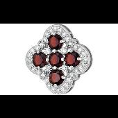 Кулон Четырехлистник с бордовыми фианитами, серебро