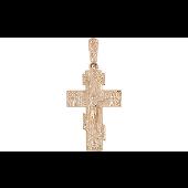 Крест православный литой прямоугольный с накладкой, красное золото