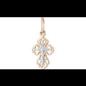 Крест ажурный православный, красное золото