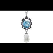 Подвеска с синим алпанитом, перламутровым жемчугом и фианитом, серебро