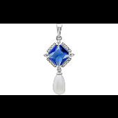 Подвеска с синим алпанитом, белым жемчугом и фианитами, серебро
