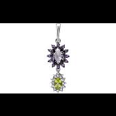 Подвеска с хризолитом, фиолетовый алпанитом и фианитами, серебро