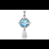 Подвеска с голубым алпанитом, белым жемчугом и фианитами, серебро