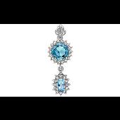 Подвеска с топазом, голубым алпанитом и фианитом, серебро