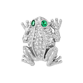Подвеска Лягушка с зелеными фианитами, серебро