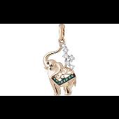 Подвеска Индийский Слон с зелеными фианитами, красное золото