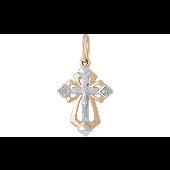 Крест православный литой с накладкой, красное и белое золото