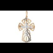 Крест православный штампованный с алмазными гранями, красное золото