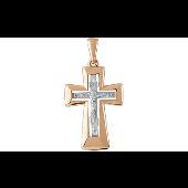 Крест литой православный, красное и белое золото