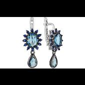 Серьги длинные с голубыми алпанитами и синими фианитами, серебро с чернением