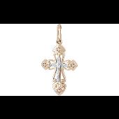 Крест литой православный с фианитами, красное золото