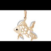 Кулон Золотая Рыбка с алмазными гранями и чёрным фианитом, красное золото