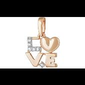 Кулон с надписью Love с фианитами, красное золото