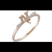 Кольцо с подвеской буква N и фианитами, красное золото