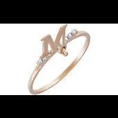 Кольцо с подвеской буква М и фианитами, красное золото