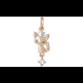 Подвеска Кошка с короной и зелеными фианитами, красное золото
