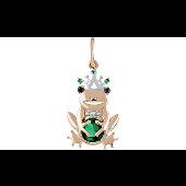 Подвеска Царевна Лягушка с зелеными фианитами, красное золото