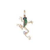 Кулон Лягушка с зелеными и черными фианитами, красное золото