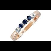 Кольцо Дорожка с бриллиантами и сапфирами, красное золото