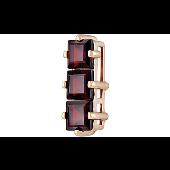 Подвеска с тремя квадратными гранатами из красного золота
