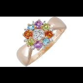 Кольцо Цветок с аметистом, хризолитом, топазом, цитрином и фианитом из красного золота 585 пробы