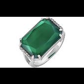 Кольцо с прямоугольным зелёным ониксом и фианитами, серебро