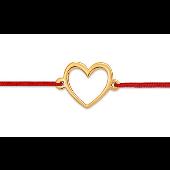 Браслет Сердце на красной нити из красного золота