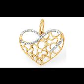 Подвеска Сердце с ажурным узором и фианитами из красного золота 585 проба