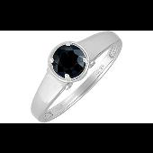 Кольцо с бриллиантами и сапфиром из белого золота 585 пробы