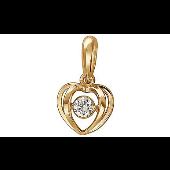 Кулон Сердце с фианитом из красного золота 585 пробы