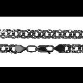 Цепь Двойной Ромб из серебра с чернением