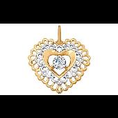 Подвеска Сердце ажурное с фианитами из красного золота 585 пробы