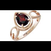 Кольцо с гранатом в огранке Груша из красного золота 585 пробы