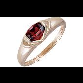 Кольцо с овальным гранатом из красного золота 585 пробы