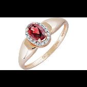 Кольцо Принцесса с овальным гранатом и фианитами из красного золота 585 пробы
