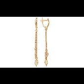 Серьги длинные Листок на цепочке из красного золота 585 пробы